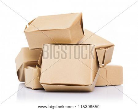 Crowded cardboard boxes, isolated on white background