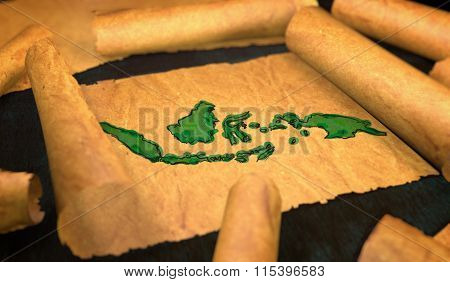 Indonesia Map Painting Unfolding Old Paper Scroll 3D