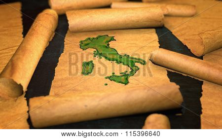Italy Map Painting Unfolding Old Paper Scroll 3D