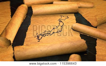 Japan Map Drawing Unfolding Old Paper Scroll 3D