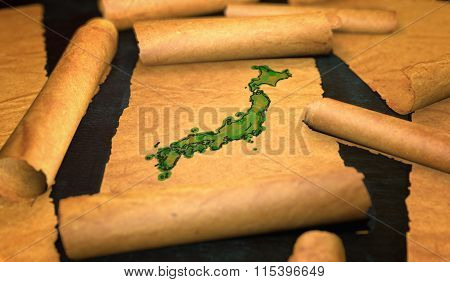 Japan Map Painting Unfolding Old Paper Scroll 3D