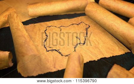 Nigeria Map Drawing Unfolding Old Paper Scroll 3D