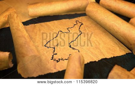 North Korea Map Drawing Unfolding Old Paper Scroll 3D