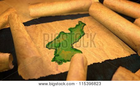 North Korea Map Painting Unfolding Old Paper Scroll 3D