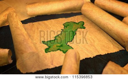 Pakistan Map Painting Unfolding Old Paper Scroll 3D