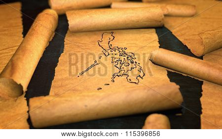 Philippines Map Drawing Unfolding Old Paper Scroll 3D