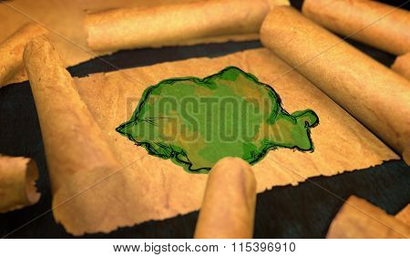 Romania Map Painting Unfolding Old Paper Scroll 3D