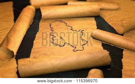 Serbia Map Drawing Unfolding Old Paper Scroll 3D