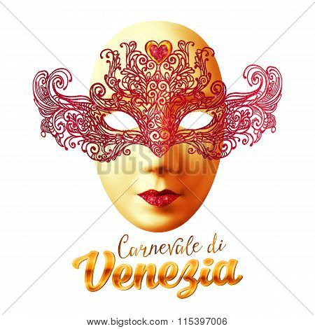Golden carnival mask with red lacy top and Carnivale di Venezia sign