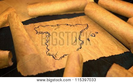Spain Map Drawing Unfolding Old Paper Scroll 3D