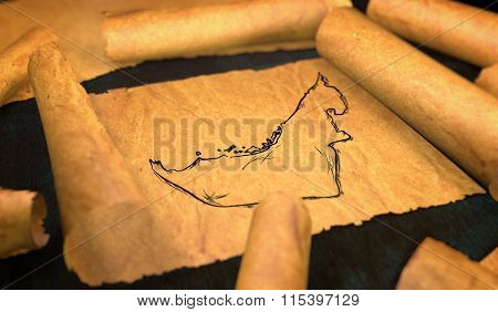 United Arab Emirates Map Drawing Unfolding Old Paper Scroll 3D