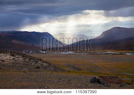 Steppe Prairie Landscape With Rays Of Sunlight