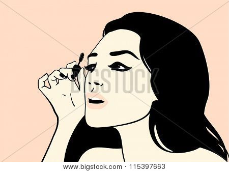 Girl with mascara brush (raster version)