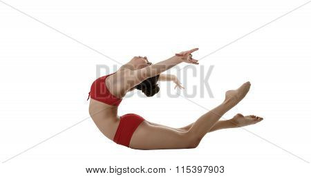 Lovely female gymnast arched her back at camera