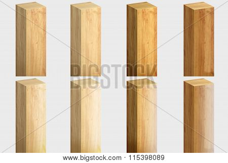 Collection of wooden bars. 3D rendering