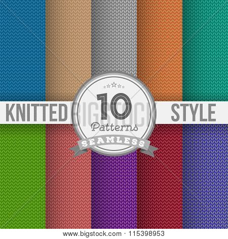 Knitted Style Seamless Pattern Set. Vector EPS10 Seamless Patter