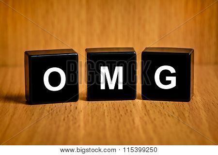 Omg Or Oh My God Word On Black Block