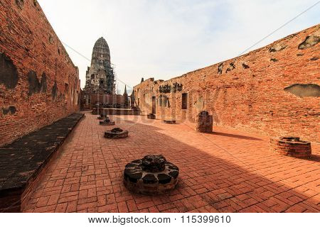 Grand hall, main pagoda of King Borommarachathirat II of the Ayutthaya Kingdom at Ratburana Temple