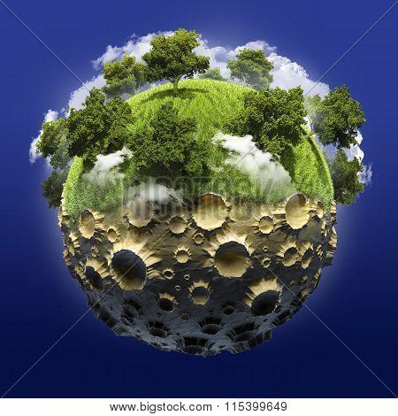 Green Planet half lifeless moon