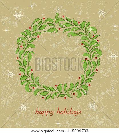 Vintage Christmas invitation card with ornate elegant retro abstract floral design. Vector illustration.