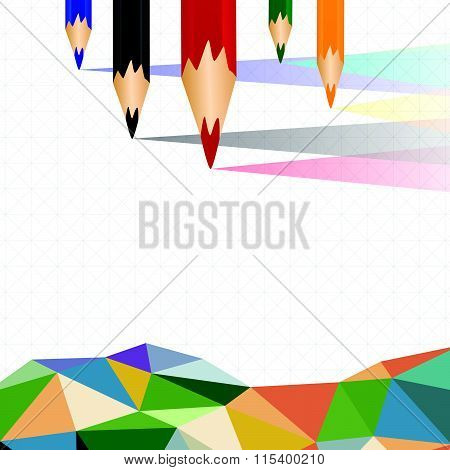 Colorful Crayons Sort And Polygon Background Vector