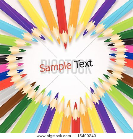 Colorful Crayons Sort Are Heart Background Vector