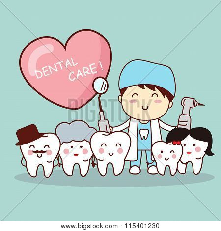 Happy Tooth Family With Dentist