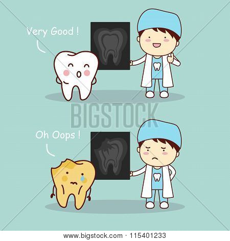 Tooth And Dentist With X Ray