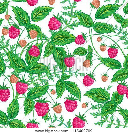 Seamless raspberry pattern. Cute hand drawing raspberry background. Vector illustration. For cards, invitations, wedding or baby shower albums, backgrounds, wallpapers, arts and scrapbooks.