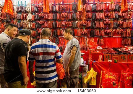 Shopping For Chinese Sausages For Chinese New Year