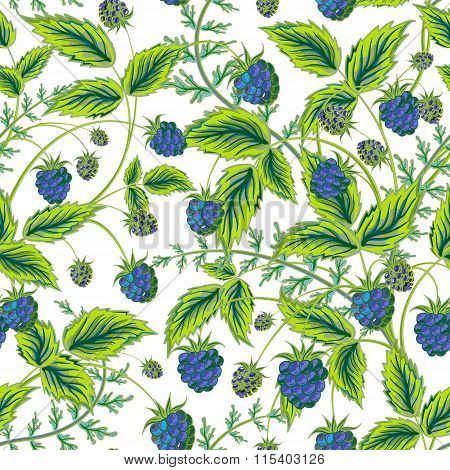 Colored raspberries seamless pattern. Seamless pattern with colored hand draw graphic blue  raspberries and green leaves. Vector illustration.