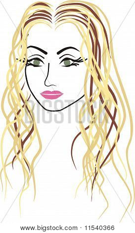 vector face of a beautiful woman