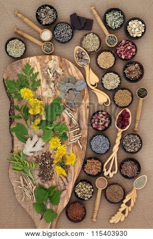 Superfood with herb and spice selection used in natural herbal medicine for women.