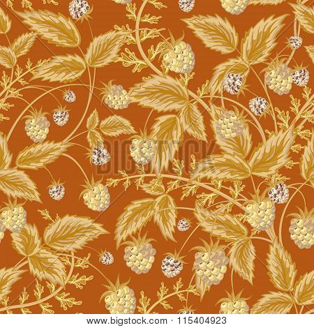 Seamless pattern with leaves and raspberry. Background for your design with bright, contrasting light brown berries and leaves on brown backdrop. Vector illustration.