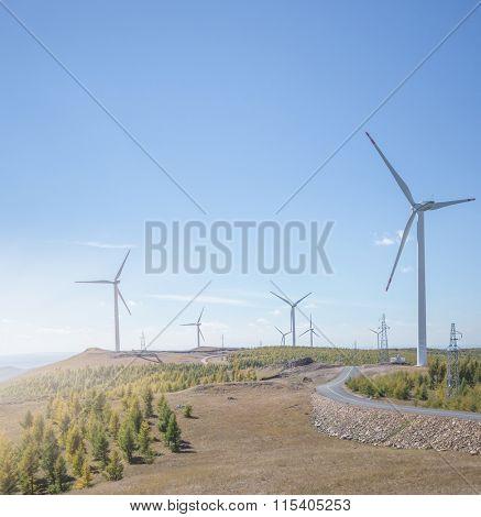 Wind generator turbine in the field, USA.