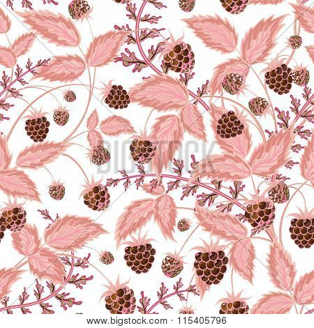 Seamless pattern with leaves and raspberry. Background for your design with bright, contrasting brown berries and pink leaves. Vector illustration.