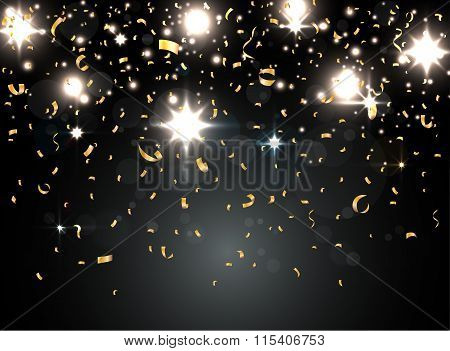 colorful confetti with light on night background