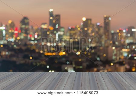 Abstract blurred bokeh lights background city downtown