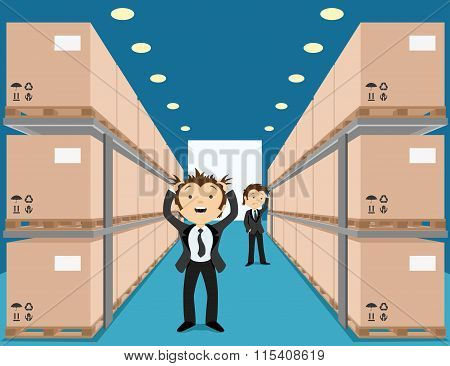 Warehouse with boxes.