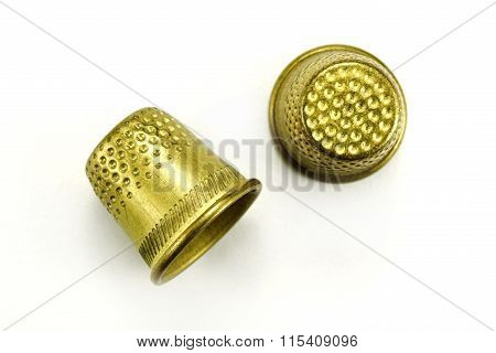 Thimble For Sewing On A White Background