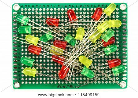 Color Led Diodes On A White Background