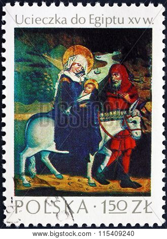 Postage Stamp Poland 1974 Flight Into Egypt, Painting