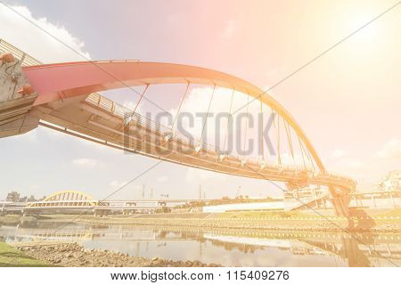 Landmark of Taipei, the famous rainbow bridge at songshan district, in the daytime, Taiwan, Asia.