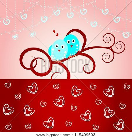 Loving birds-Wedding card, valentine card
