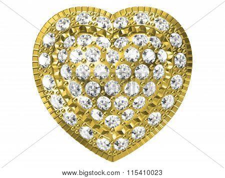 Golden Heart Pendant Isolated On White