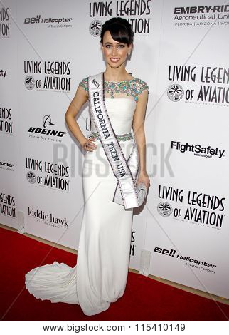 Miss California Teen USA 2016 Athenna Crosby at the 13th Annual Living Legends Of Aviation Awards held at the Beverly Hilton Hotel in Beverly Hills, USA on January 22, 2016.