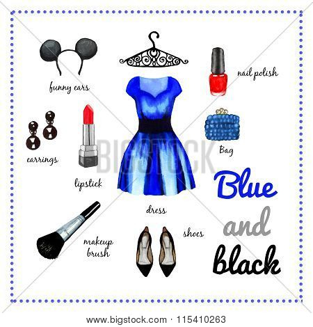 Blue Dress Fashion Outfit Watercolor Set Ilustration
