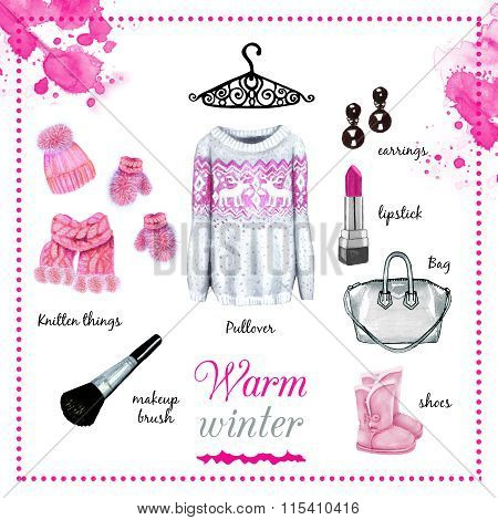 Winter Fashion Outfit Watercolor Set Illustration