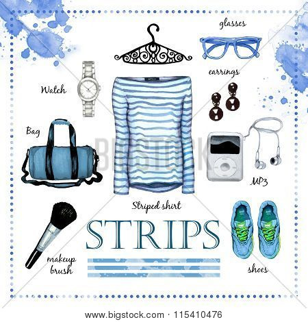 Striped Fashion Outfit Watercolor Set Illustration