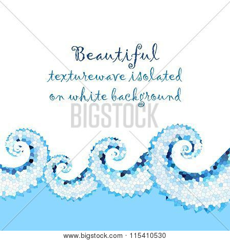 Blue Mosaic Sea Border On White Background